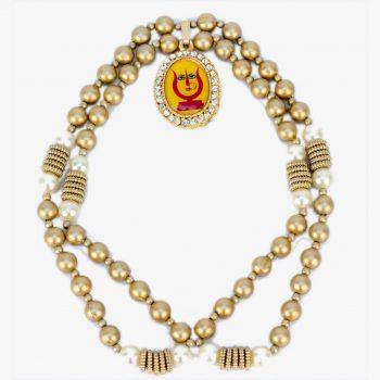 Rani Sati Dadi   Handmade Artificial Gold Pearl Mala With Pendant Pack of 100 Pieces