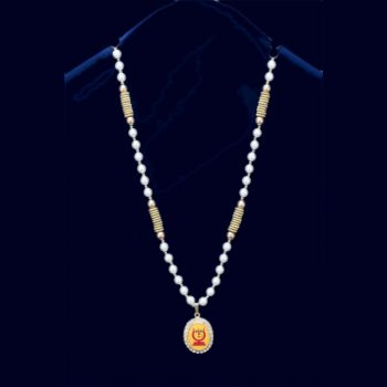 Rani Sati Dadi Oval Shape Small Size Pendant With 42 Artificial White Pearl Mala Pack of 100 Pieces