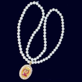 Rani Sati Dadi   29 Diamond Pendant With Handmade Artificial White Pearl Mala Pack of 100 Pieces
