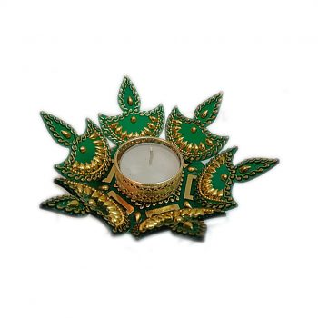 3D Green Rangoli Diya Pack of 10 Pieces