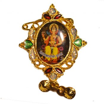 Ganpati Bappa Oval Shape Mirror Brooch Pack of 100 Pieces