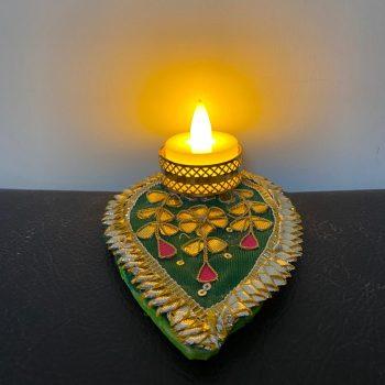 Diwali Leaf Shape Tea Light Candle With LED Light Pack of 10 Pieces