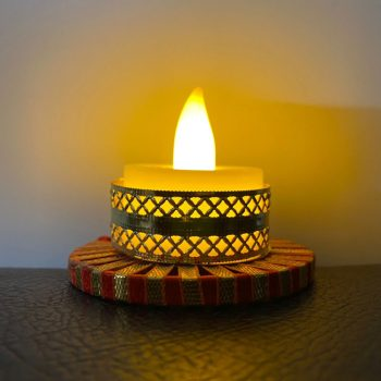 Diwali Round Shape Gota Tea Light Candle With LED Light Pack of 10 Pieces